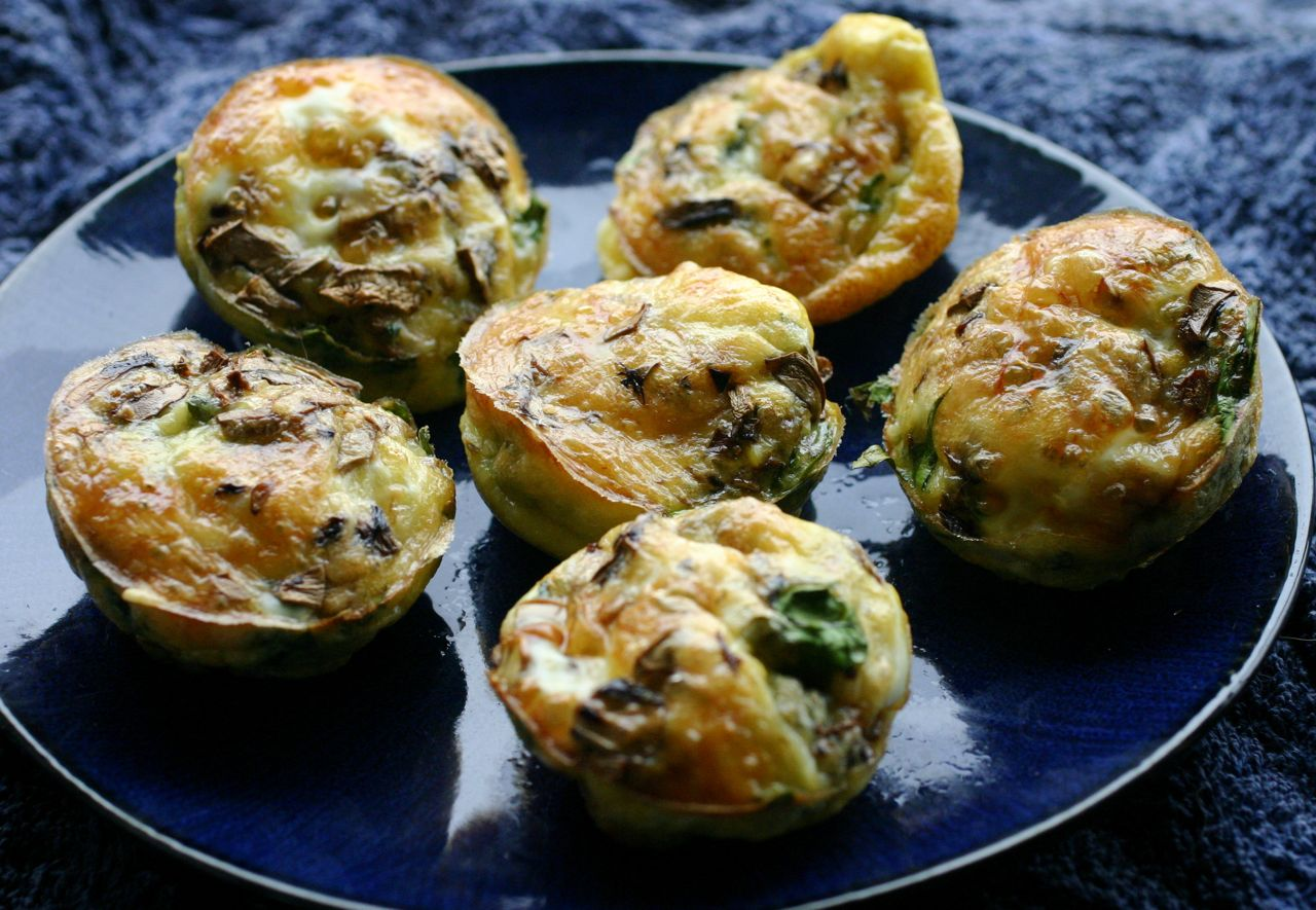 Cheesy Egg Muffins With Mushroom, Courgette and Spinach • The ...
