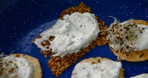 Kefir cheese on apple-cinnamon flax crackers and seaweed rice crackers