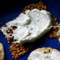 Rosemary, garlic, walnut kefir cheese on a flax cracker