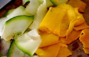 Making Noodles: Strips of zucchini and pumpkin, ready to be layered on top of each other