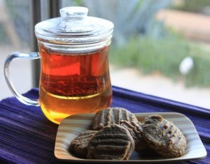 Peanut Butter Cookies with a cup of tea