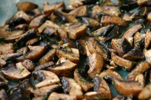 Raw Diet Recipes: Mushrooms tossed in olive oil and spices before dehydrating